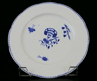 """RARE Antique English Chantilly Porcelain 8- 5/8"""" Plate ~Carnation & Insects 18c."""