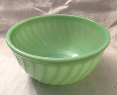 "Vintage 8"" Fire King Jadeite Swirl Nesting Bowl, Oven Ware"