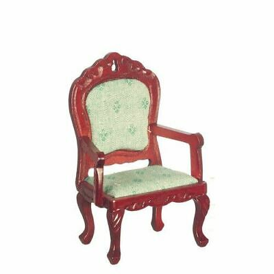 Dollhouse Miniature Victorian Side Chair in Lt Green Fabric /& Mahogany ~ T3512