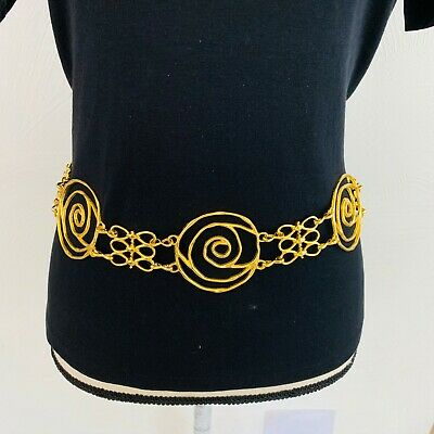 Gold Tone Women's Chain Circle Link Loop With  Dangles Adjustable Belt