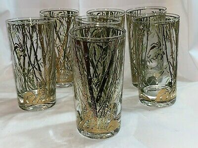 1960s Vintage Gold Gilt and Green Bamboo Patterned Tumblers - Set of 7