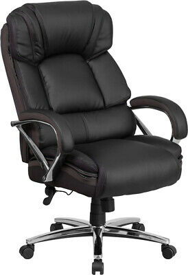 Big & Tall Black Leather Executive Office Chair Extra Wide Seat 500Lbs Capacity