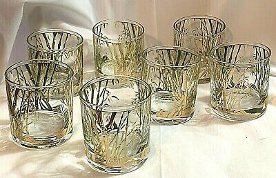 1960s Vintage Gold Gilt and Green Bamboo Pattern Juice Glasses- Set of 8