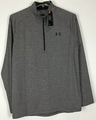 UNDER ARMOUR UA MEN/'S TECH 1//4 QUARTER ZIP EMBOSSED PULLOVER S L BLACK RED NWT