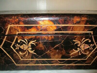Antique Large Coromandel Exotic Wood Hinged Box With Lid