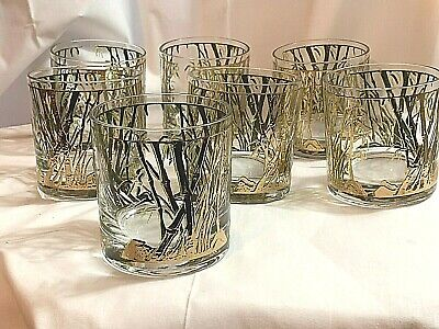 1960s Vintage Gold Gilt and Green Bamboo Pattern DOF Glasses- Set of 7