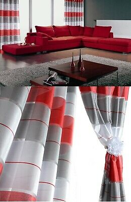 Sale!!! Pair Ready Made Curtains Striped Red/ Grey/ White Voile Eyelet Ring