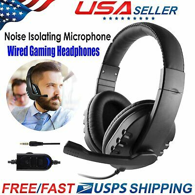 3.5mm Wired Gaming Headset Mic Stereo Surround Headphone For PS4 Xbox One PC Mac
