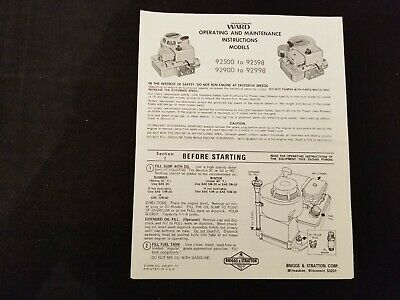 Briggs & Stratton - Operating and Maintenance Instructions - Models 92500-92598