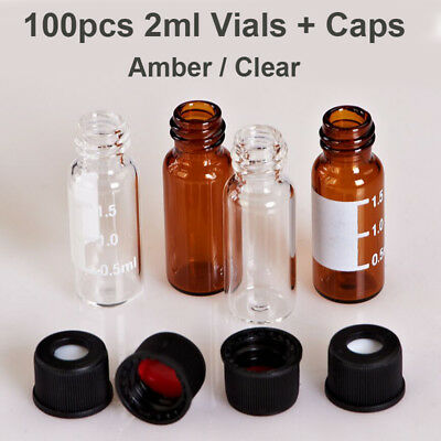 100pcs 2ML Sample Vials + Caps Clear Amber Glass Bottle Vial 8-425 Screw Top Lab