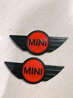 2X New Mini Cooper Chrome /& Black Metal Front Hood//Rear Truck Emblem Badge Logo
