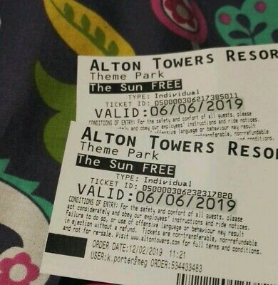 Alton towers tickets 6th June 2019