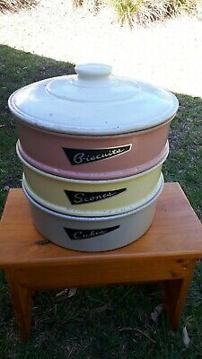 Vintage Kitchen Canisters Cake Bsicuit Scone Tin 3 Tier