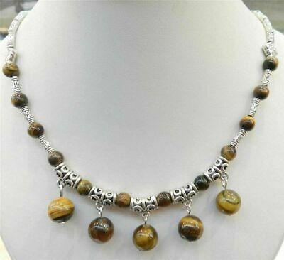 """Natural Round Beads Pendants & Tibet Silver Necklace 18"""" Aaa"""