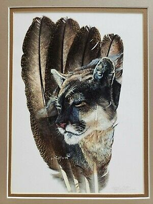 Cool Cat Animal Art Feathers Background Print SIGNED McCullum NUMBERED 3 of 100