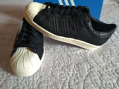 Adidas Womens Superstar 80s Snake Leather - Core Black / Off White UK 5.5