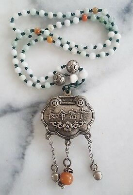 VTG  Chinese Tibitan EXPORT Silver 925 w KNOTTED JADE & AMBER DANGLES NECKLACE