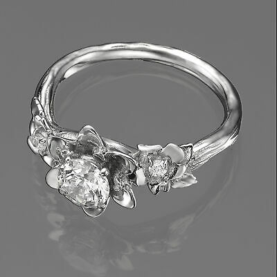4938c9dd5 F/SI1 1/2 CT Flower Solitaire Diamond Engagement Ring 14K White Gold  Enhanced