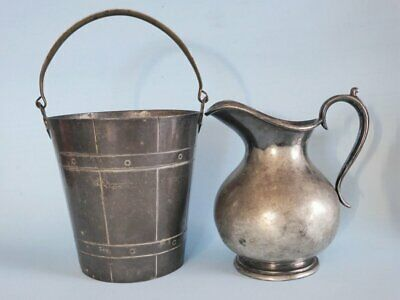 Antique Britannia Ice Bucket & Pitcher Jug, 19th Century, EPBM Silver Decor