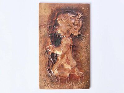 Copper Relief Wall Hanging, Vintage Decorative Copper Plaque, 1960s, Rustic Art