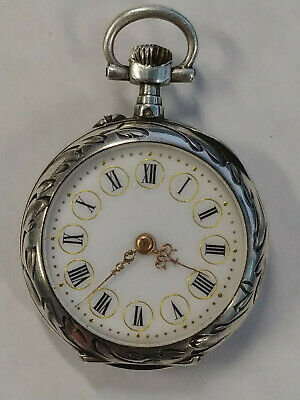 Antique French Ladies LeCoultre Silver with gold inlay pocket watch works