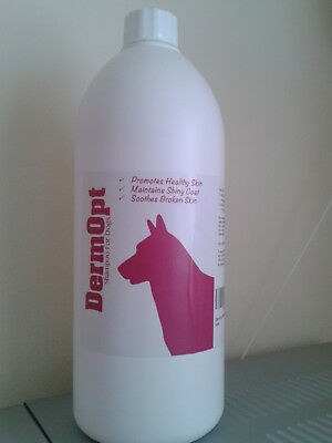 NEW DermOpt Shampoo for Dogs 1000ml Healthy Skin Shiny Coat Soothes Broken Skin