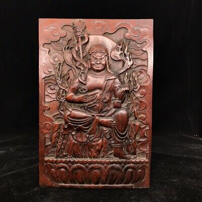 "12"" China old antique huanghuali wooden handcarved Mara-tarjana Buddha statue"