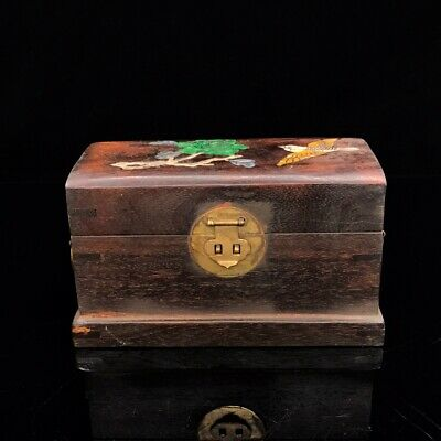 "8"" China antique huanghuali wooden Mosaic shells Magpie plum jewelry box"