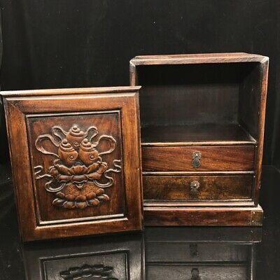 "11"" China old antique huanghuali wooden handcarved louts locker Jewelry box"