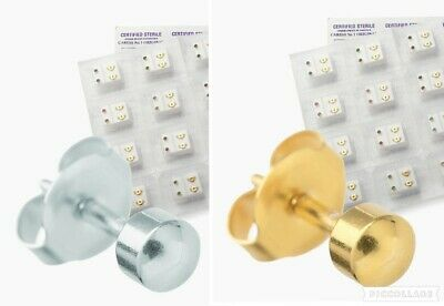 Certified STERILE Ear Piercing Studs Round Ball Earrings Gold Silver Colour 3mm