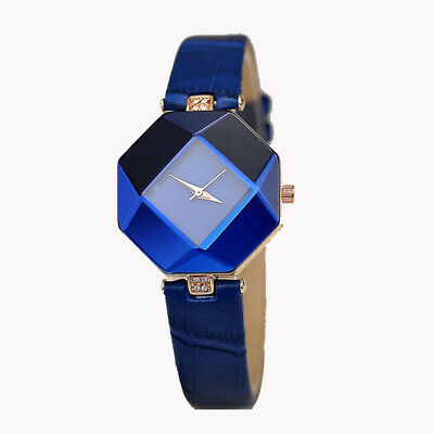 Women Girl Elegant Classic Quartz Ladies Wrist Watch Fashion Leather Strap Blue