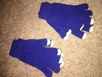 Lot Two Pair Of New Blue & Gray Knit Winter Gloves Stretch One Size Fits All @@!