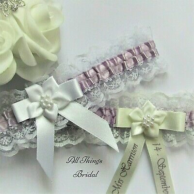 Personalised Bridal Garter. Ivory or white Lace with lilac satin trim