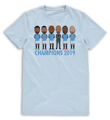 City Champions 2019 Caricature Mens Blue T-Shirt S- XXL Unofficial Manchester