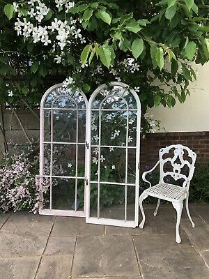 Beautiful Pair French Vintage Antique Glass Double Doors Windows Wooden Frame