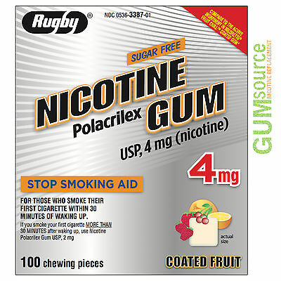 Rugby Nicotine Gum 4mg Coated Fruit  1 box 100 pieces