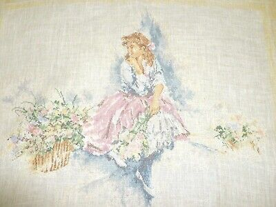 Beautiful completed cross stitch embroidery My Fair Lady by Lanarte lady flowers