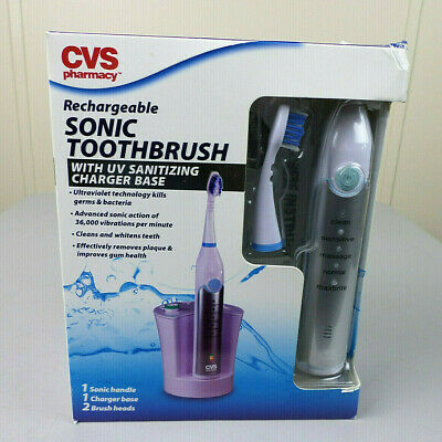 CVS Rechargeable Sonic Toothbrush W/ UV Sanitizing Charger Base FACTORY SEALED