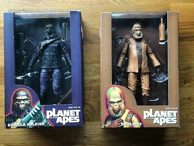 Planet Of The Apes Gorilla Soldier & Dr Zaius 7 Inch Action Figures Neca