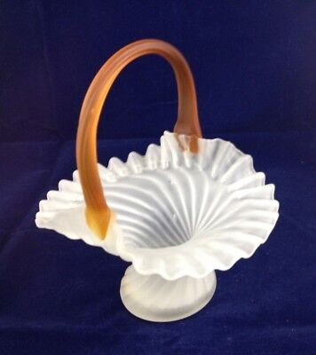 antique frosted glass basket - amber handle - swirled - art deco design
