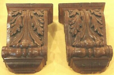 Antique American Hand Carved Solid Oak Corbels For Shelves Mantels And Much More