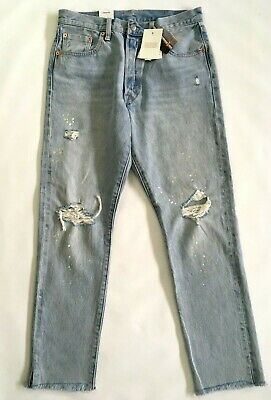 7188afc0 Levis 501 Selvedge Destroyed Button Fly Jeans Womens 28 X 28 Paint Splatter  New