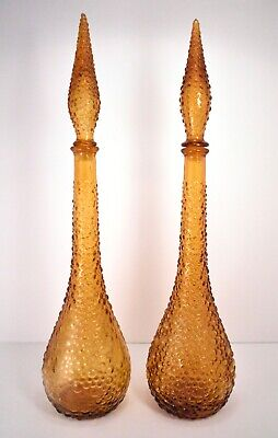 Pair of Amber Empoli Decanters, Genie Bottle Mid-Century Glass Italy Vintage