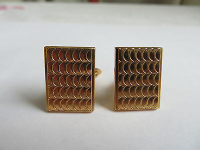 Vintage 1950s Ascot gold tone engine-turned rectangular mens cufflinks boxed
