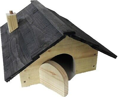 Hedgehog House with BLACK TIMBER ROOF and nesting compartment