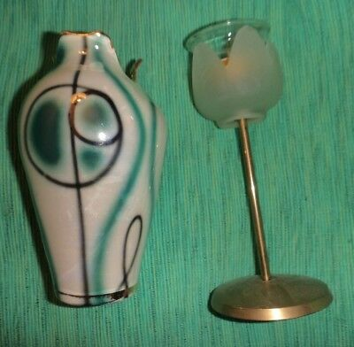 2 Italian vase hand painted & a glass flower head candle holder