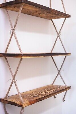 Rustic Hanging Rope Three Shelves Natural Aged Wood Floating Shelves