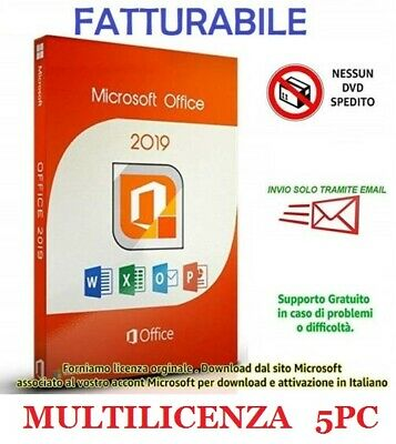 OFFICE 2019 Pro Plus 32/64 bit - Fatturabile - Originale - Key Licenza per 5 pc
