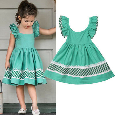2019 Kids Baby Girls Summer Prom Pageant Party Casual Short Dress Sundress Skirt