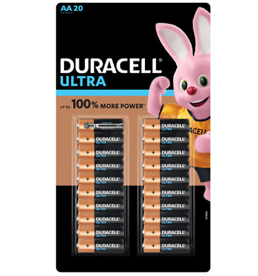 20 x Duracell Ultra Power AA Alkaline Batteries With Power check 100% more power